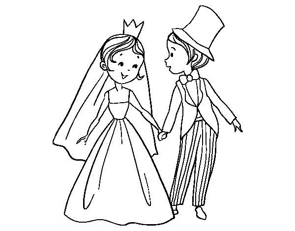 Desenhos Para Colorir Principe: Desenho De Casamento De Príncipe E Princesa Para Colorir