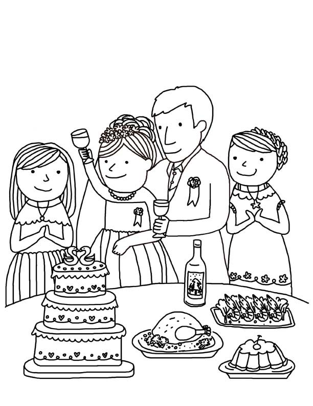 Desenho De Festa De Casamento Para Colorir