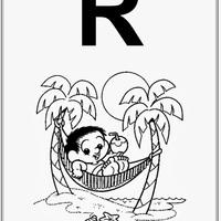 Desenho de Alfabeto da Turma da Monica Letra R para colorir