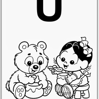 Desenho de Alfabeto da Turma da Monica Letra U para colorir