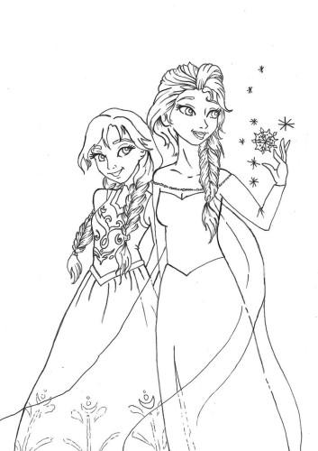 desenho de filme frozen - elsa e anna para colorir