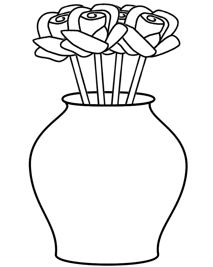 Desenho De Vaso Com Rosas Para Colorir