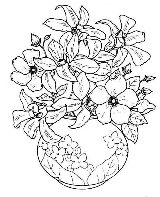 Flower Basket Line Drawing : Desenho de vaso flores tropicais para colorir