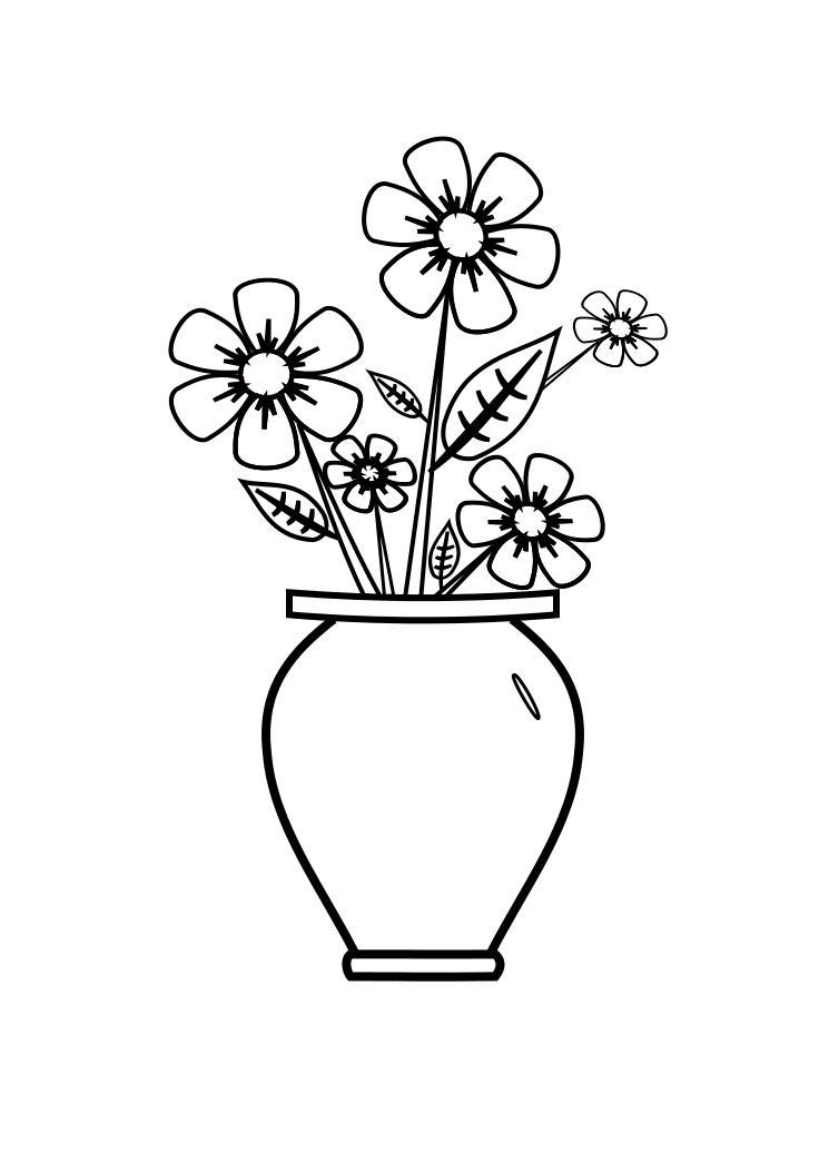 Desenho De Vaso Pequeno Para Colorir