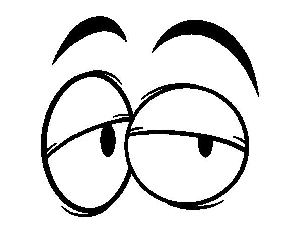 desenho de olhos desconfiados para colorir tudodesenhos