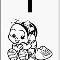 Desenho de Alfabeto da Turma da Monica Letra T para colorir