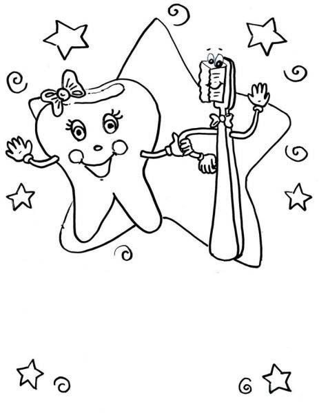 desenho de dente e escova para colorir