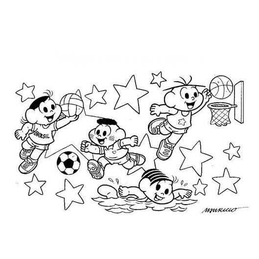 desenho de jogos olímpicos da turma da monica para colorir
