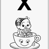 Desenho de Alfabeto da Turma da Monica Letra X para colorir