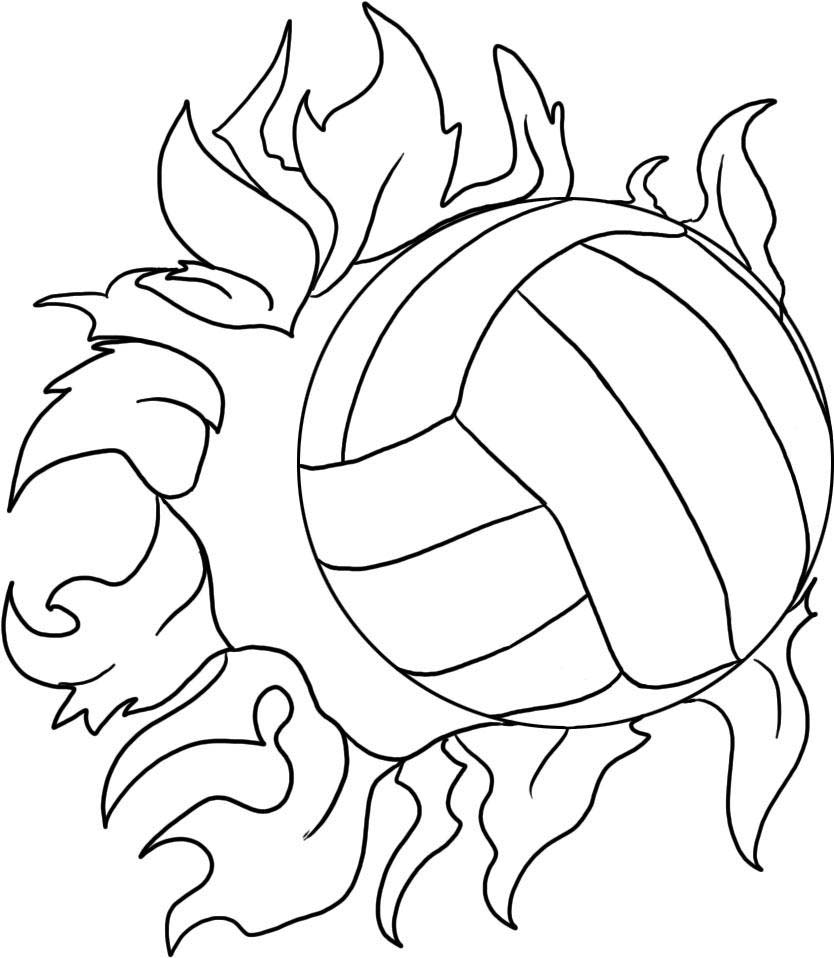 Desenho De Bola De Volei E Fogo Para Colorir Tudodesenhos