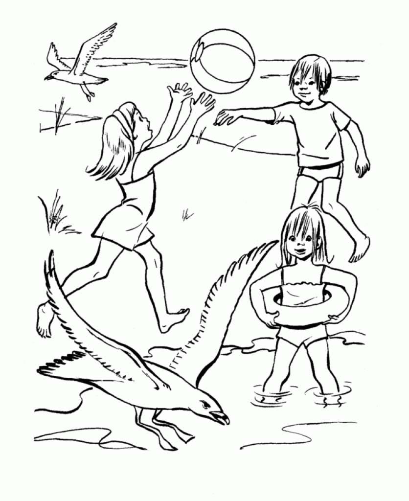 santa at the beach coloring page - desenho de crian as jogando v lei no parque para colorir