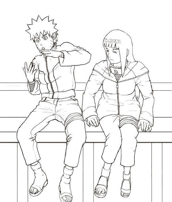 desenho de naruto uzumaki e hinata hyuga conversando para colorir