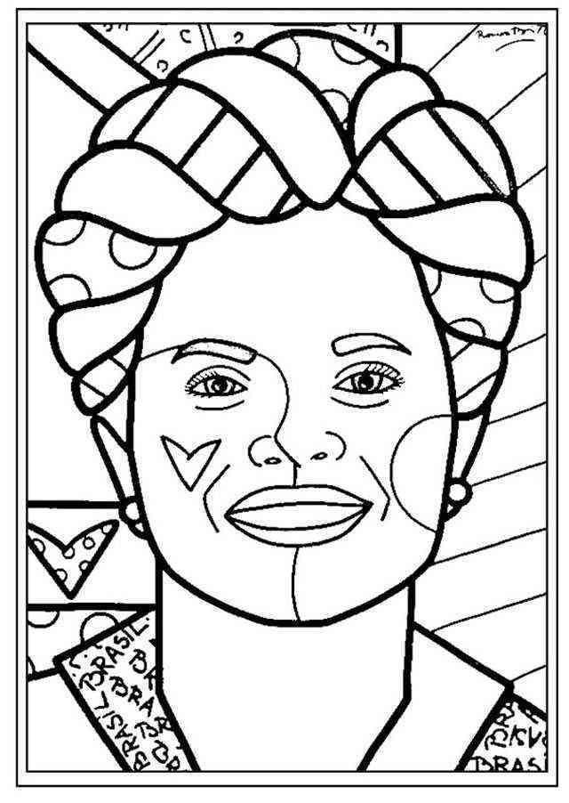 Desenho De Romero Britto Dilma Para Colorir Tudodesenhos