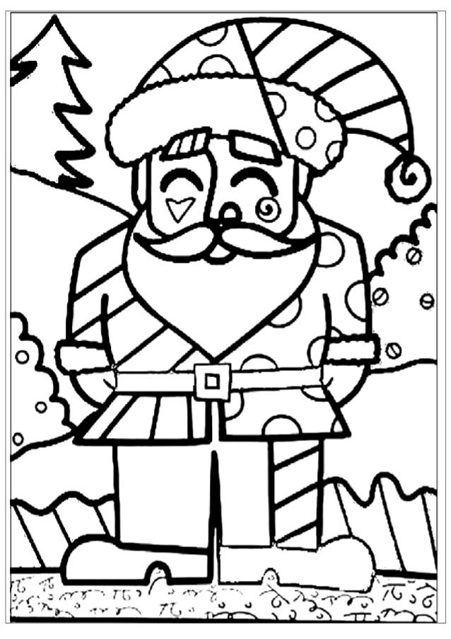 Desenho De Romero Britto Papai Noel Para Colorir Tudodesenhos
