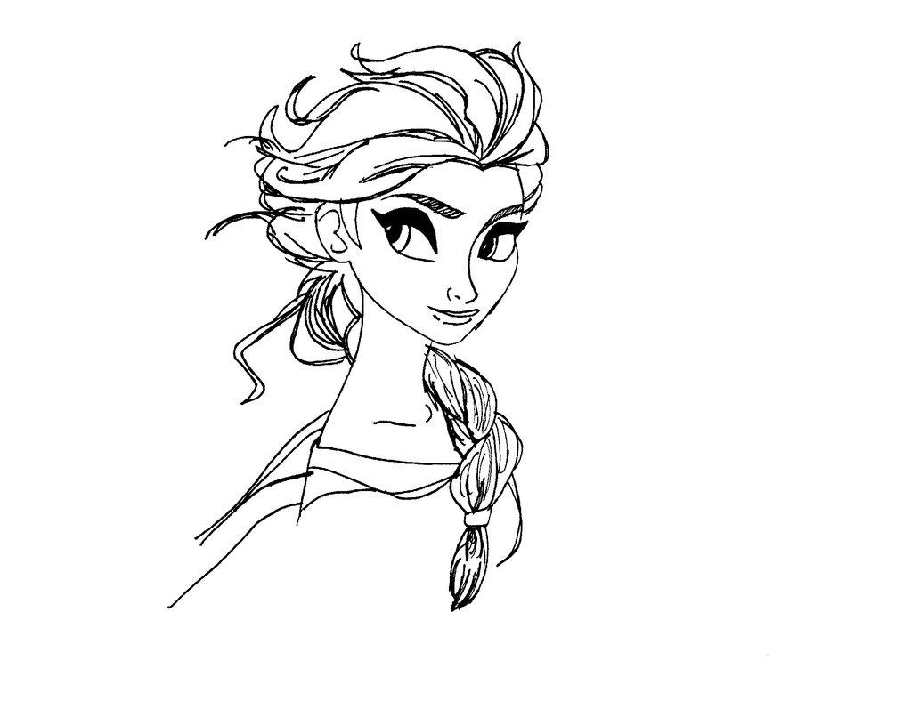 Desenho De Retrato De Elsa De Perfil Para Colorir
