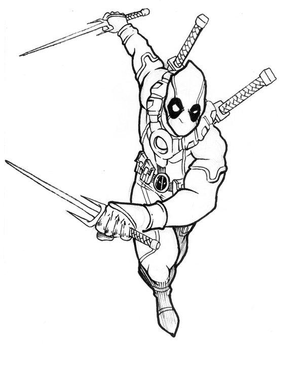 Desenho De Deadpool Em Ação Para Colorir Tudodesenhos