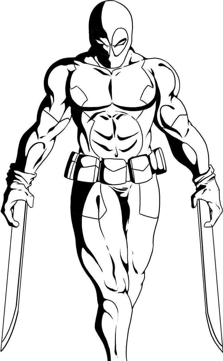 Desenho De Deadpool E Suas Armas Para Colorir Tudodesenhos