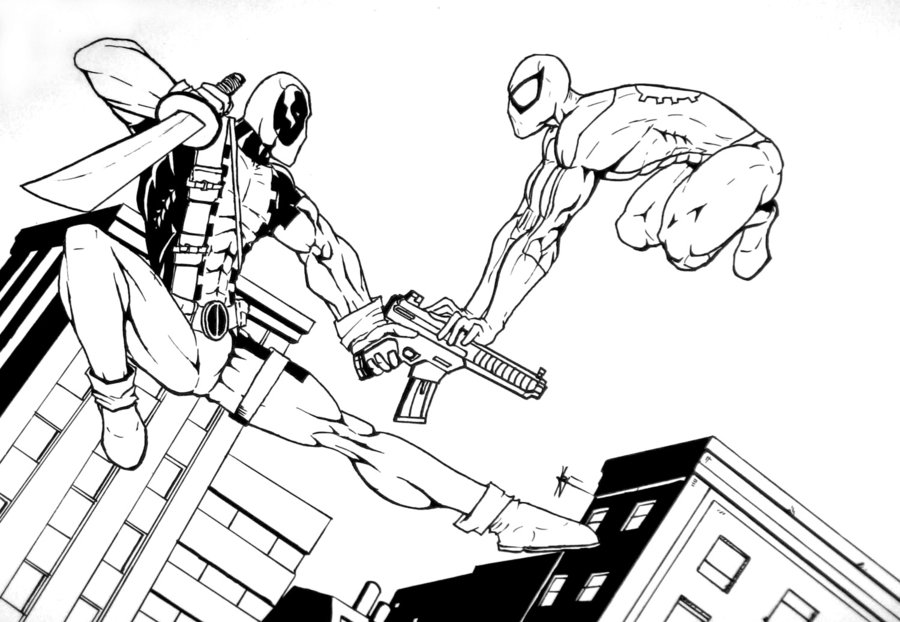 Desenho De Deadpool Lutando Contra Inimigo Para Colorir