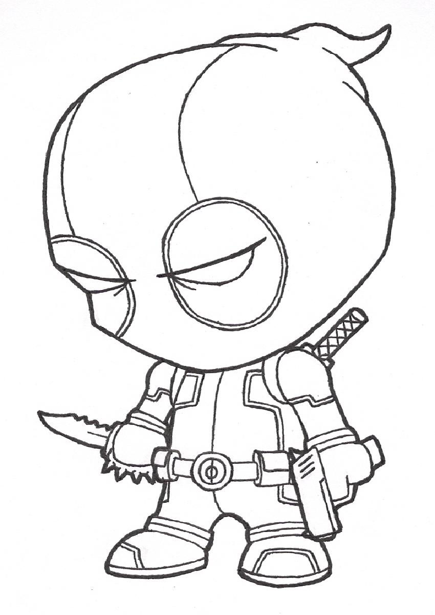 Desenho de Deadpool chibi para