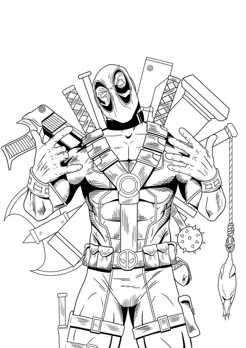 Desenho De Deadpool Marvel Para Colorir Tudodesenhos