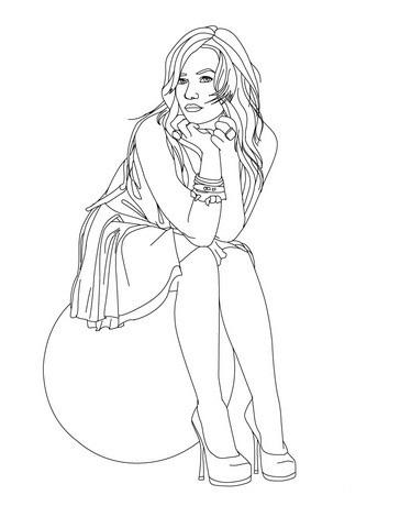 Desenho de Demi Lovato cantora internacional para colorir ... Cantando