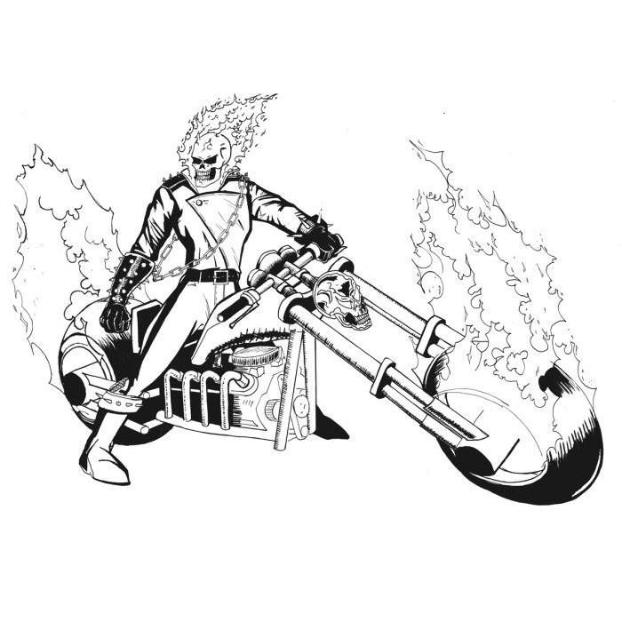 Desenho de motoqueiro fantasma marvel para colorir - Dessin de ghost rider ...