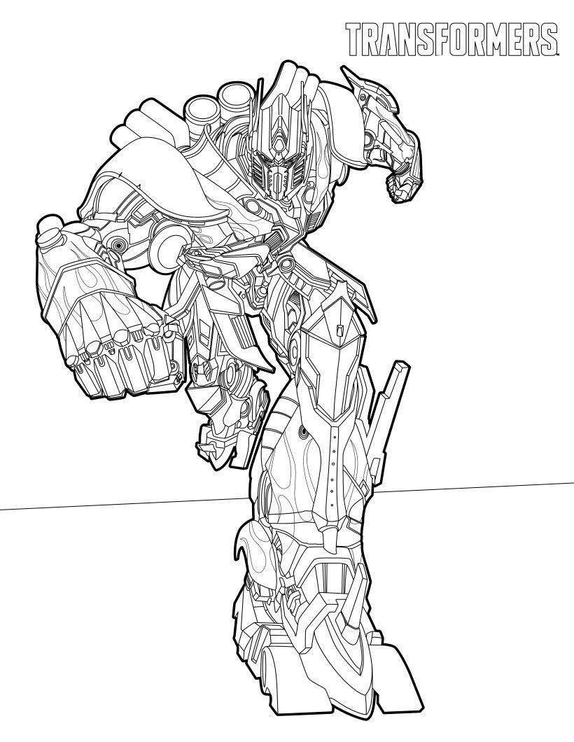 desenho de optimus em ação para colorir tudodesenhos