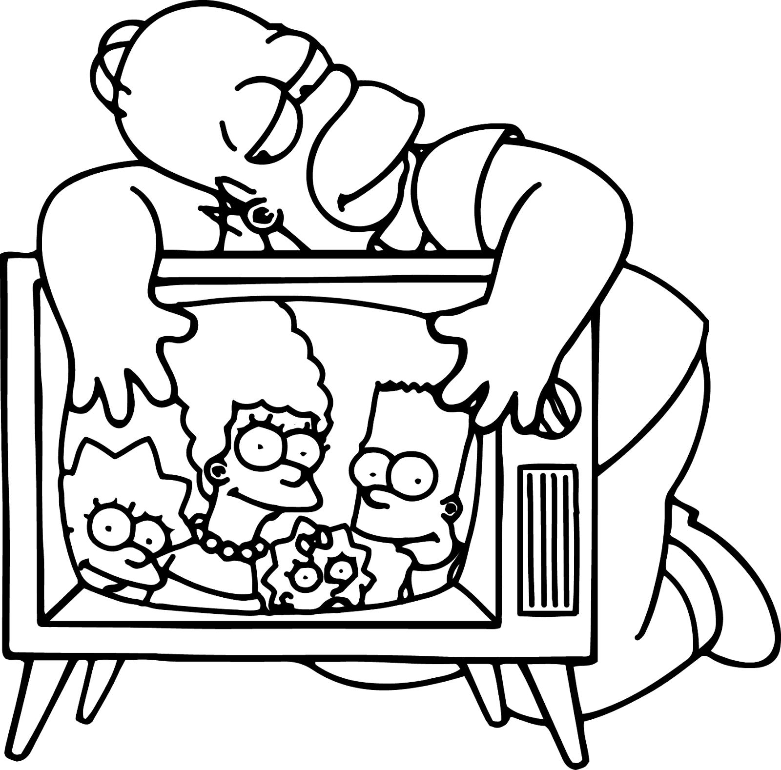 Desenho De Homer Simpson Vendo Televisão Para Colorir