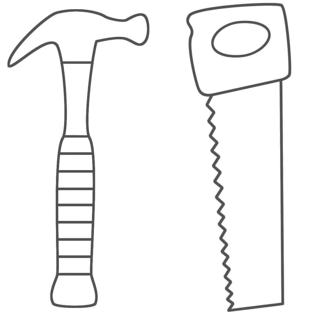 desenho de martelo e serrote para colorir tudodesenhos