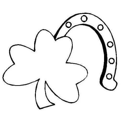 desenho de ferradura e trevo de três folhas para colorir tudodesenhos