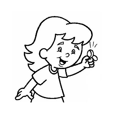 Desenho De Menina Segurando Moeda Para Colorir Tudodesenhos