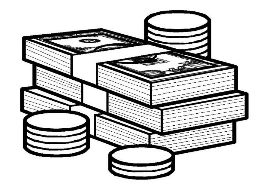 Desenho De Bilhetes De Dinheiro E Moedas Para Colorir Tudodesenhos