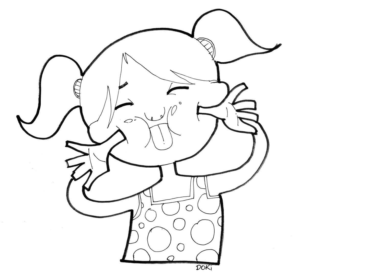 Desenho De Menina Fazendo Careta Para Colorir