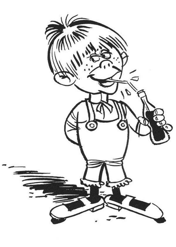 coca cola coloring pages - desenho de menino e garrafa de coca cola para colorir