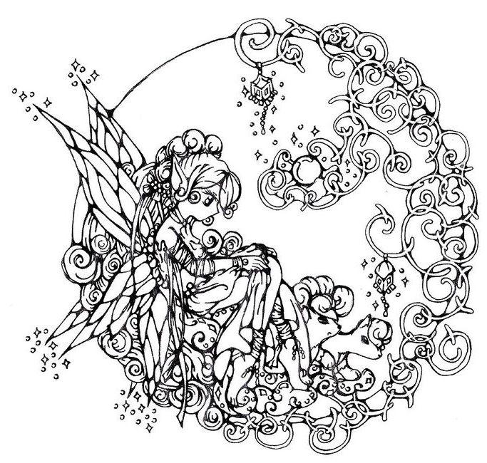 desenho de mandala de fada para adultos para colorir tudodesenhos