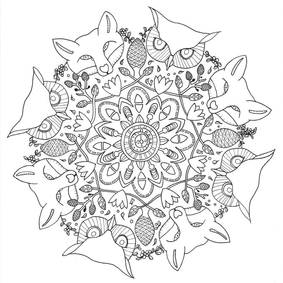 Desenho De Mandalas De Lobos Para Adultos Para Colorir