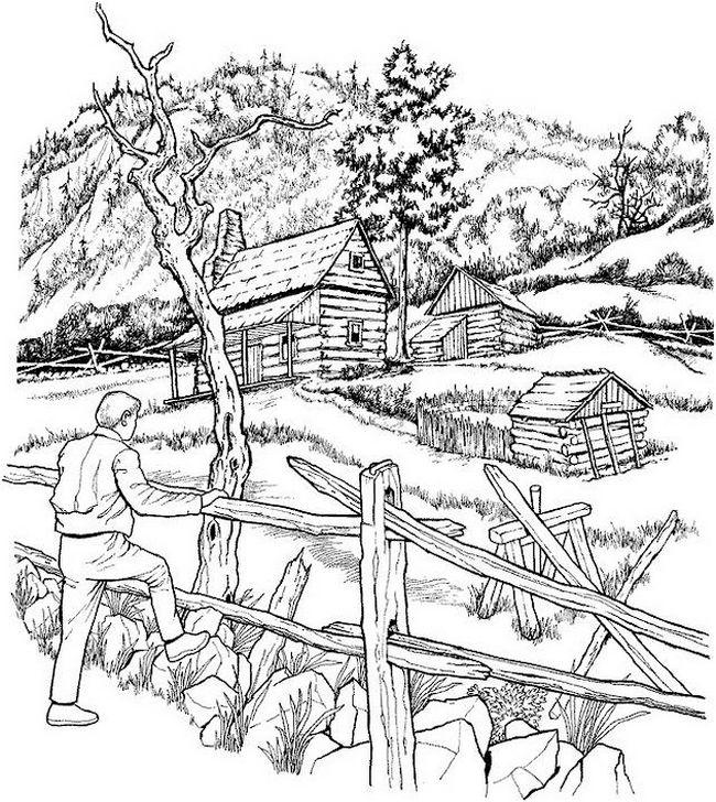 Desenho De Paisagem Para Adultos Para Colorir Tudodesenhos