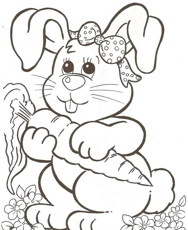 desenho de coelhinho da páscoa e cenoura para colorir tudodesenhos