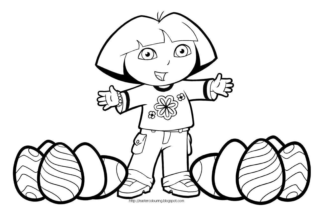 Desenho De Dora Aventureira Na Páscoa Para Colorir