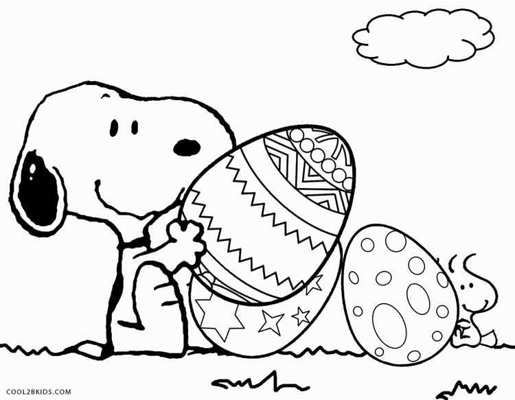Desenho Do Snoopy Para Colorir: Desenho De Snoopy Na Páscoa Para Colorir
