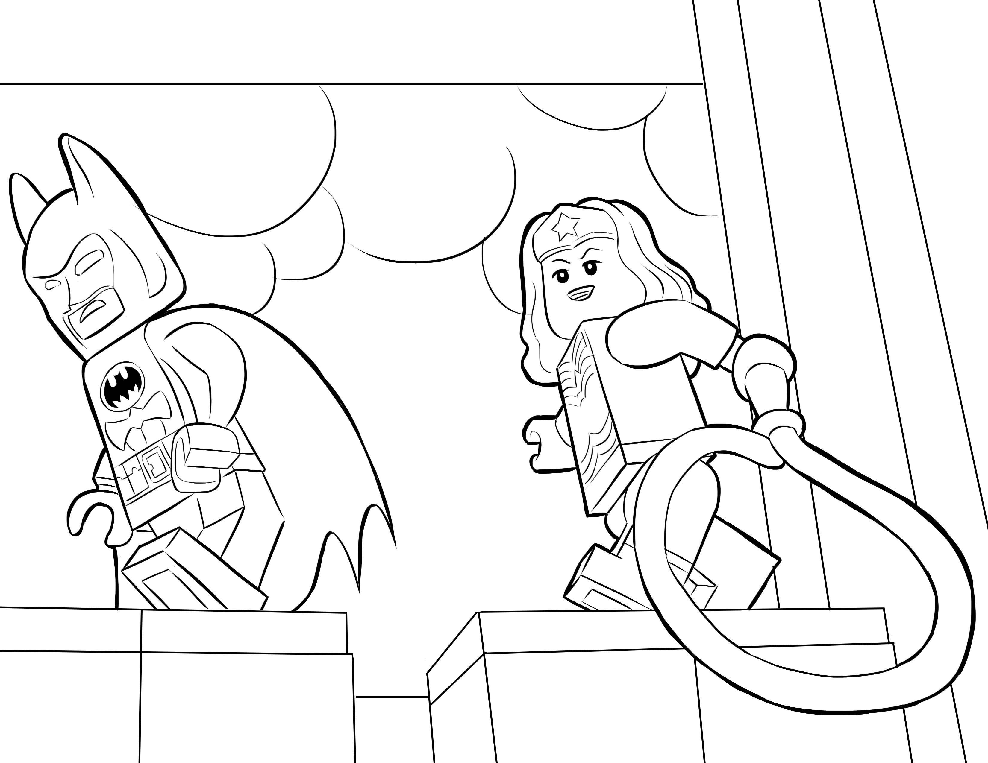 desenho de batman e mulher maravilha lego para colorir tudodesenhos