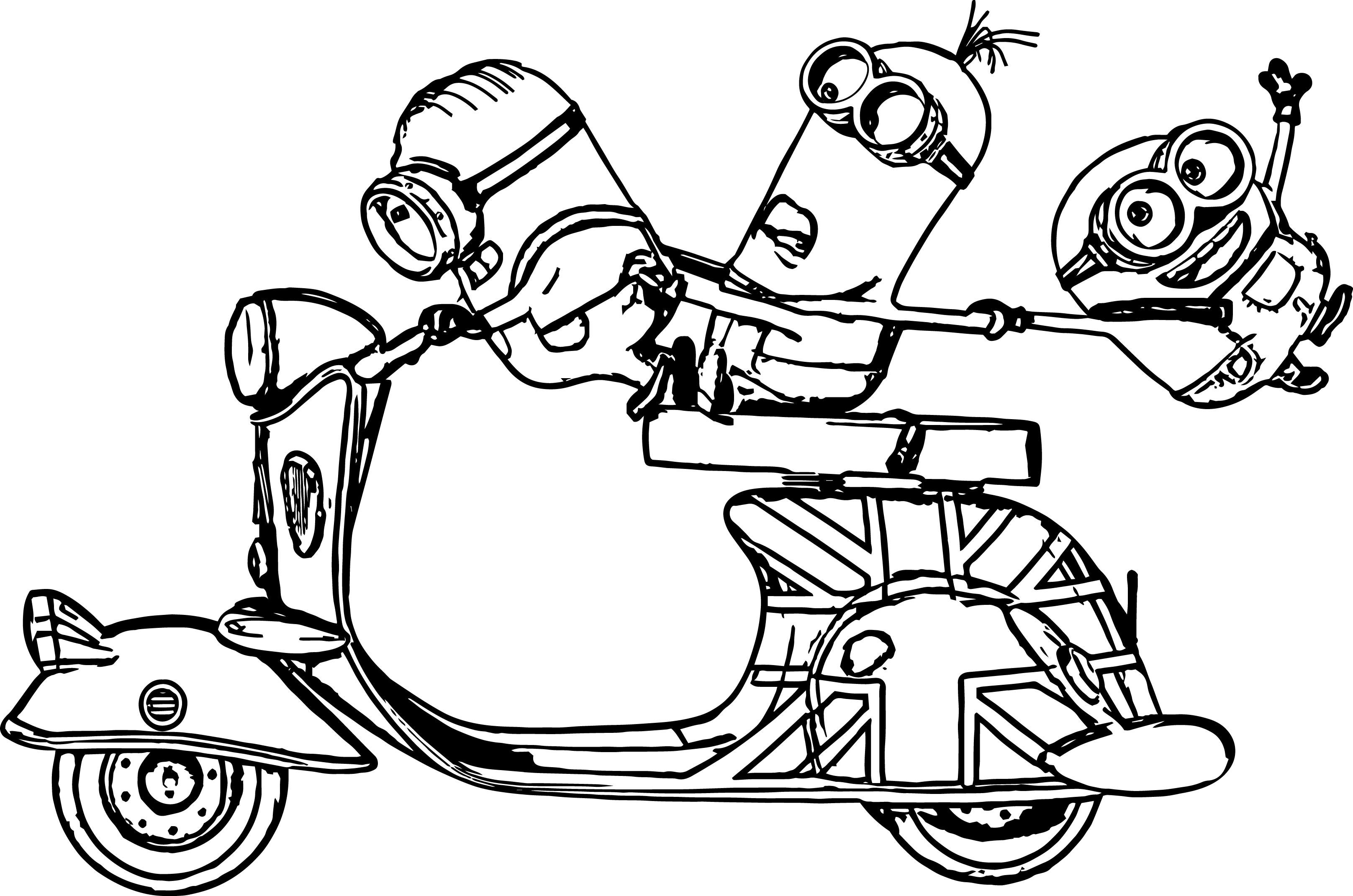 Desenho De Minions Na Scooter Para Colorir Tudodesenhos