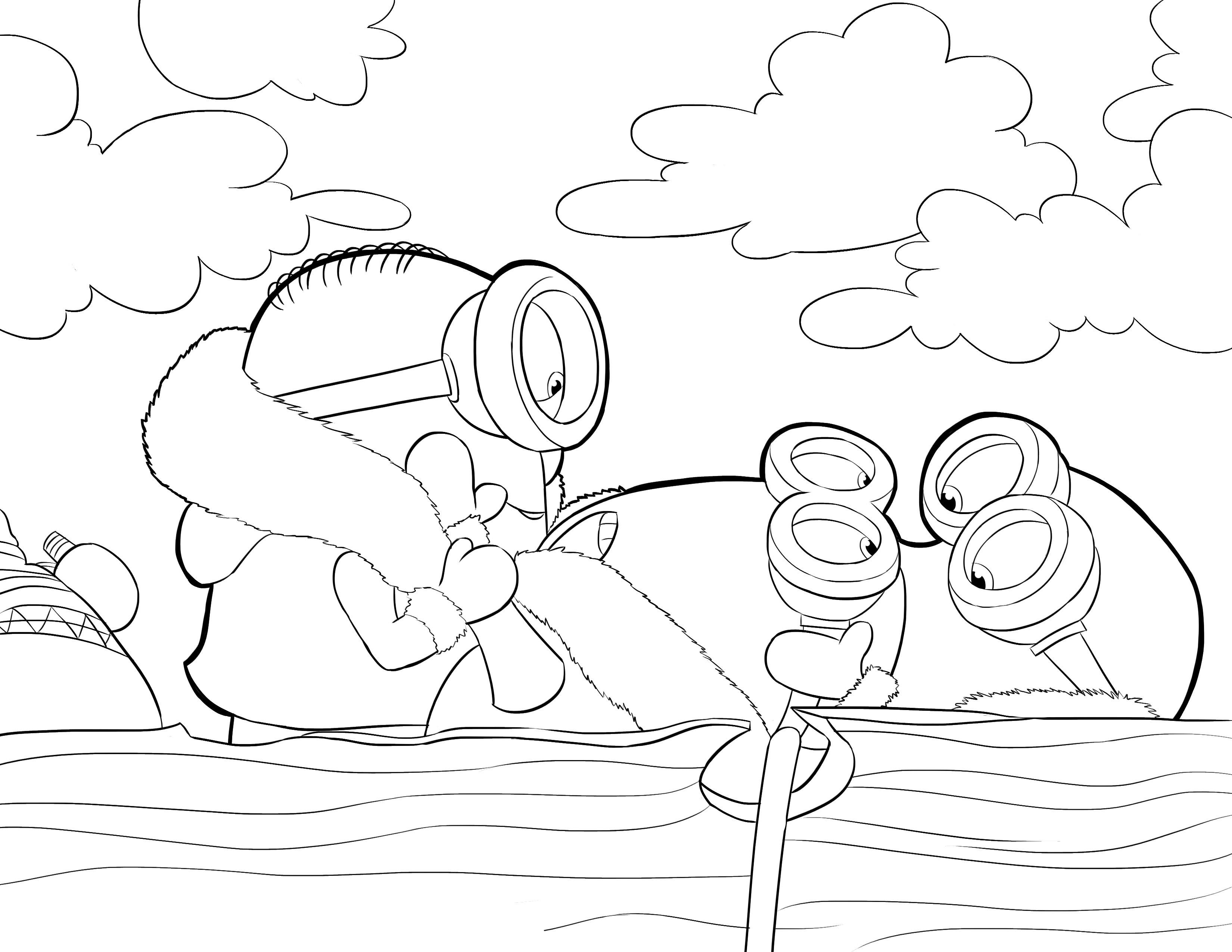 Desenho De Minions No Barco Para Colorir