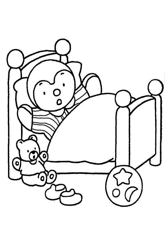 Desenho De Boneco Na Cama Para Colorir Tudodesenhos