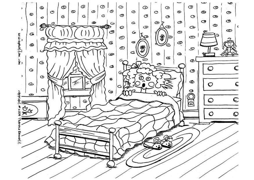Desenho No Quarto ~ Desenho de Cama no quarto de menina para colorir Tudodesenhos