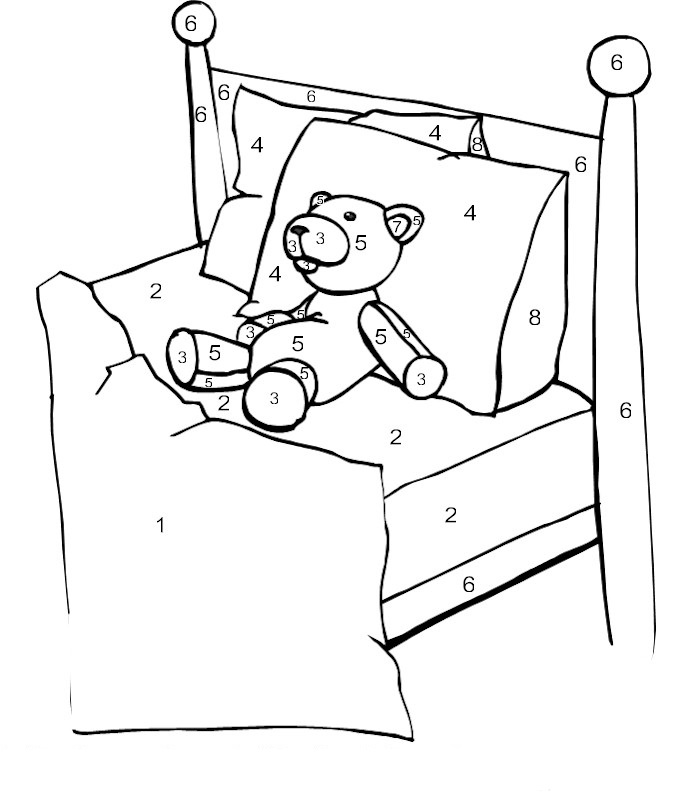 Desenho de colorir com n meros cama para colorir - Dibujos para cabeceros de cama ...