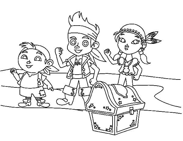 desenho de jake e amigos encontrando baú de tesouros para colorir