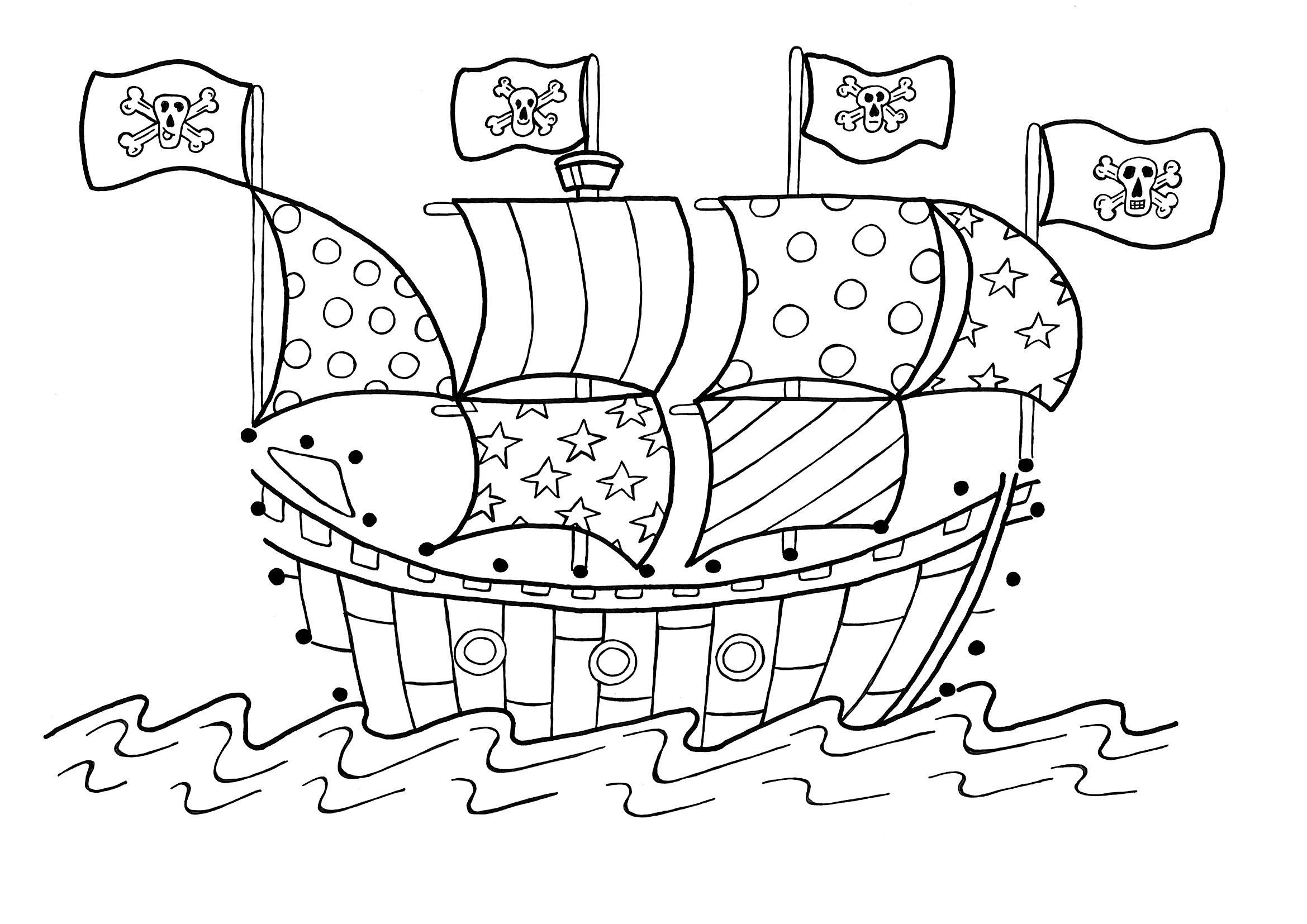 desenho de navio pirata chegando à ilha perdida para colorir