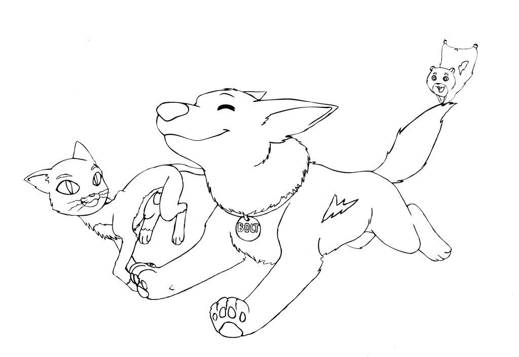 Desenho De Bolt E Amigo Gato Correndo Para Colorir Tudodesenhos