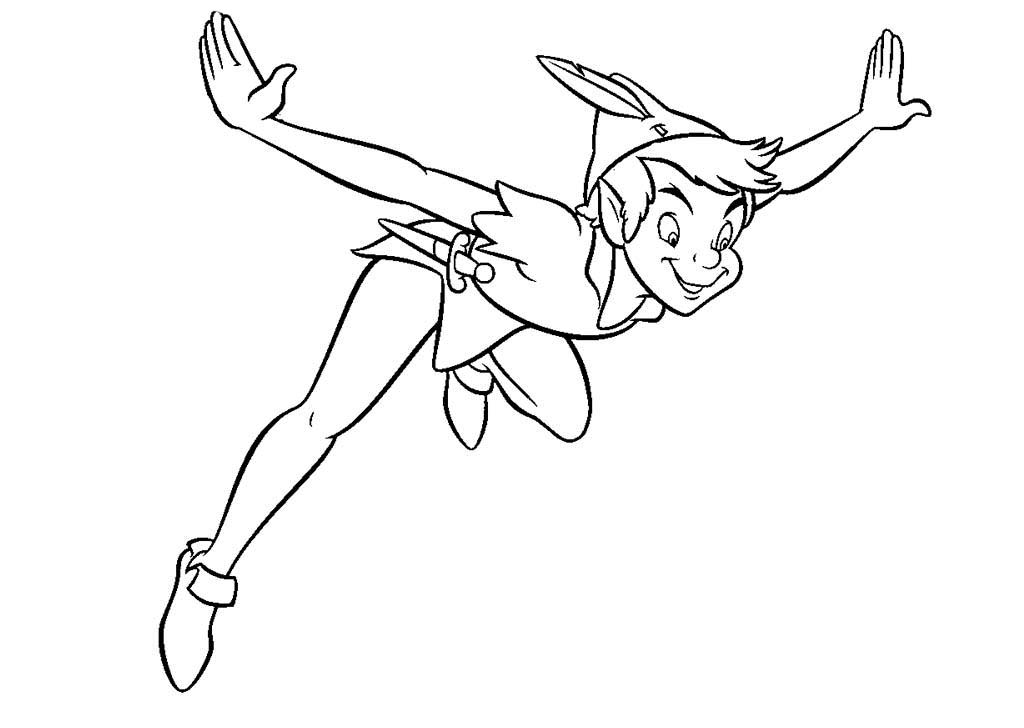 Desenho De Peter Pan Voando Para Colorir Tudodesenhos